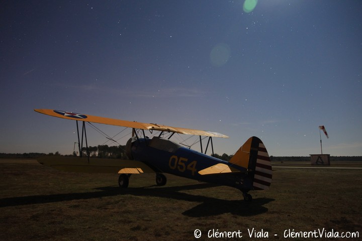 Boeing Stearman by night